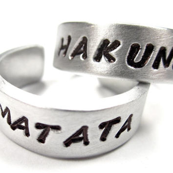 Best Friend Rings- HAKUNA MATATA- Don't Worry- Be Happy-Couples Rings