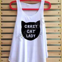 crazy cat lady shirt vintage tank top singlet clothing vest tee tunic - size S M