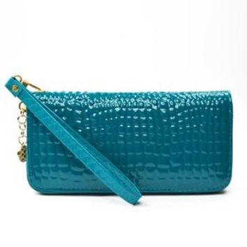 KLOUD ® Blue synthetic leather stone pattern patent women wallet purse with a wristlet