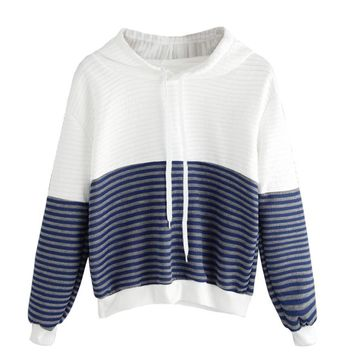 Fashion Pullovers Sweatshirt Women Casual Autumn Long Sleeve Drop Shoulder Striped Drawstring Hoodie Short White Blue Patchwork