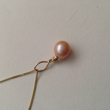 18 Carat Gold Single Pearl Necklace Pendant - Wire Wrapped - Freshwater - Peach - Pink - Cream