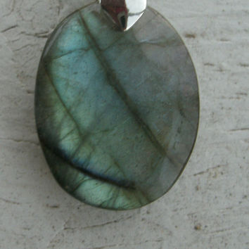 Labradorite Pendant Necklace - oval pendant, gemstone, blue green and purple flash, OOAK, silver pinch bail, 925 stamped sterling chain