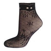 Women Black Nylon Transparent Ultrathin Fishnet Socks Goth Punk