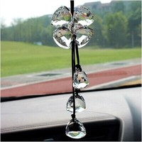 High-grade Crystal Car Pendant Handmade Woven Crystal Clover Car Rearview mirror Accessories Free Shipping