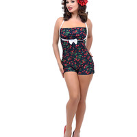 Black Cherry Print Halter Harlow One Piece Swimsuit