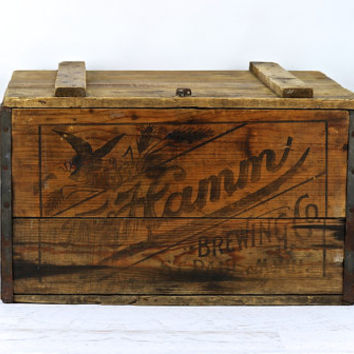 Hamm Beer Wooden Crate Circa 1910 XXL, Vintage Wood Beer Crate, Industrial