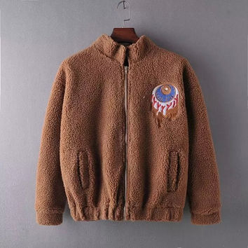 Embroidered Fur Zipper Coat