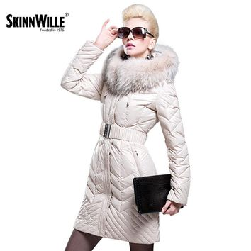 skinnwille fashion thickening large fur collar down coat women medium-long winter new arrival woman winter coats and jackets