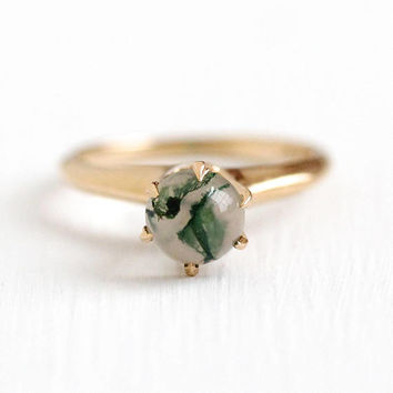 Moss Agate Ring - Vintage 14k Rosy Yellow Gold White & Green Gem Cabochon - Edwardian Era 1910s Size 4 3/4 Statement Raised Fine Jewelry
