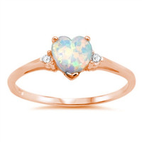 Promise Ring Rose Gold Solid 925 Sterling Silver Round Russian Diamond CZ Three stone 0.84CT Heart Shape Lab Created  White Opal Love Gift