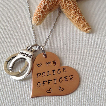 I love my police officer necklace, police necklace, handcuffs, gifts for police wives, law enforcement, handstamped gifts