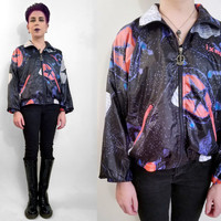 90s Windbreaker Track Jacket Vintage 90s Jacket Galaxy Print Lightweight Bomber Jacket Zip Up Jacket Black Pink Blue Unisex Size Medium