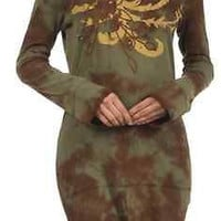 IDI Cotton Embroidered Tie Dye Fitted Top - Olive Brown