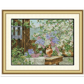 Flowers Full Of Garden Home decoration 11CT 14CT Printed On Canva Home Decor Painting Chinese Counted Cross Stitch Kits Pattern