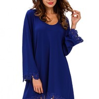 Royal Blue Lace Trim Long Sleeve Casual Mini Dress