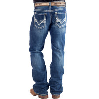 Men's Dark Wash Pistol Slim Fit Rock N Roll Cowboy Jeans