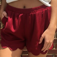 Scalloped Shorts - Burgundy