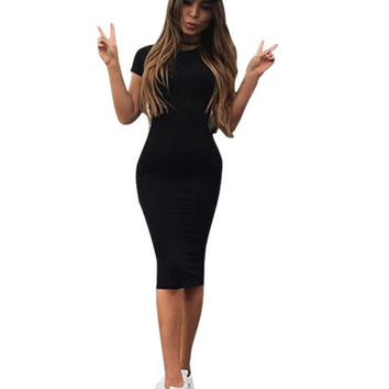 Sheath  Dress Women O Neck Black Grey Green Sexy Club Solid Bodycon Midi Dresses For Women Ladies  Vestido de verao SM6