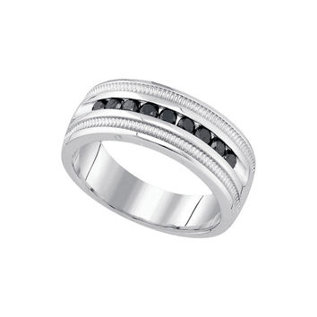 10kt White Gold Mens Round Black Colored Diamond Band Wedding Anniversary Ring 1/2 Cttw 79243