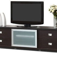 Transitional TV Stand Frosted Glass Door Dark Brown Finish Living Room Decor New