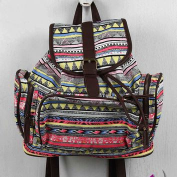 Tribal Buckle Strap Zip Pocket Backpack