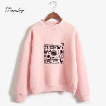 BTS Kpop Sweatshirts Wake Up Printed Autumn Women Harajuku Bangtan Boys Winter Fleece BTS Full Name Hoodies Hip Hop Jumper