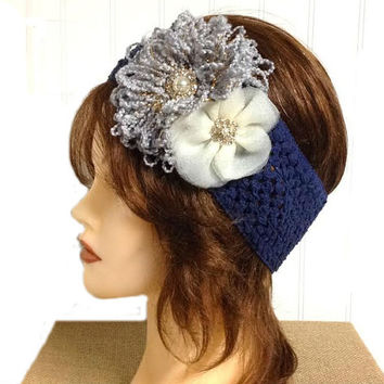 Women's grey loopy navy blue crochet and ivory tulle pearl rhinestone flower crochet headband, white ear warmer, corsage headband