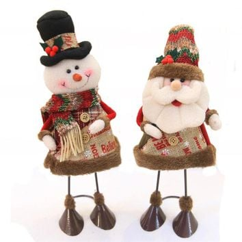 15*37CM Self Stand Merry Christmas Santa Claus Doll desk DIY ornament Craft Kid Gift Xmas Snowman Toy decoration Felt Cloth