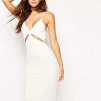 NaaNaa Midi Bodycon Dress With Cut Out And Low Back