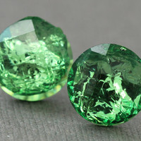 Crystal Stud Earrings : Bright Green Metallic Faceted Stud Earrings, Simple, Minimal, Bright, Foiled, Neon, Fun
