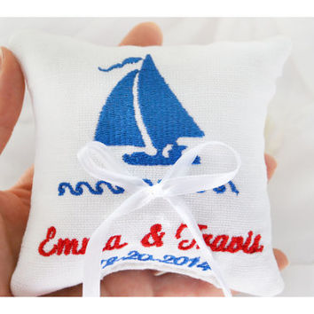 Nautical  ring pillow , embroidered ring cushion ,personalized  ring pillow, ring bearer pillow,  Custom embroidery (LR25)