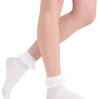 Rockabilly Just You and Eyelet Socks in White by ModCloth