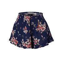 LE3NO Womens Lightweight Crinkled Ruffled Flowy Summer Shorts with Stretch