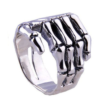.925 Silver Punk Rock Jewelry Skeleton Hand Ring for Men's Fashion Apparel-Size 7