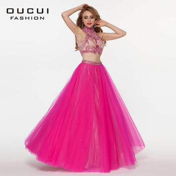 Real Photos Tulle Fabric Two Piece Beading Handwork Formal Evening Long Dresses Lace OL102660