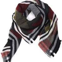 Multi Color Geo Print Fringed Scarf