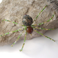 Stunning Gold and Green Beaded Christmas Spider Ornament