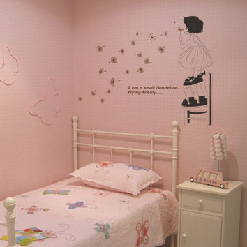 Hot girl blowing dandelion sitting room the bedroom of wall stickers household adornment wall stickers on the wall SM6