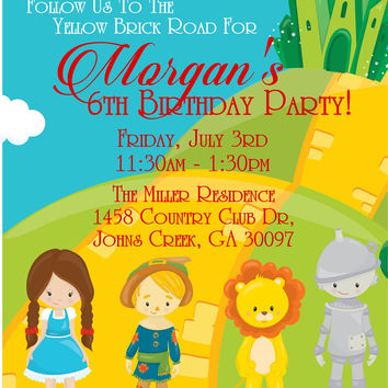 Wizard Of Oz Birthday Party Invitations
