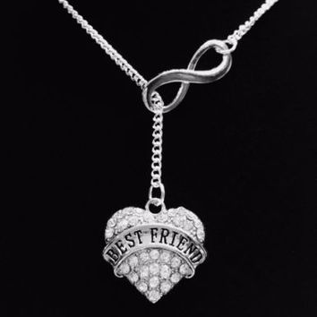 Infinity Crystal Best Friend Forever BFF Friends Gift Lariat Style Necklace