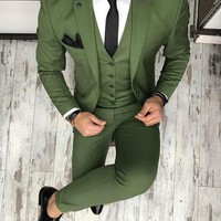 Men's Green 3 Piece Custom Tuxedo Up To 6XL(Jacket, Vest, Pants)