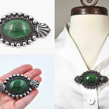 Vintage Mexico Sterling Silver & Malachite Brooch Pin, Large, Beaded, Fluted, Pre-Eagle, C Clasp, Early Mexican, Amazing! #c406