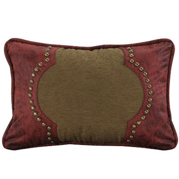 HiEnd Accents San Angelo Leather Pillow, Tan with Red