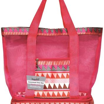 TempaMATE? Insulated Tote Bag - Pink-Black - CASE OF 10
