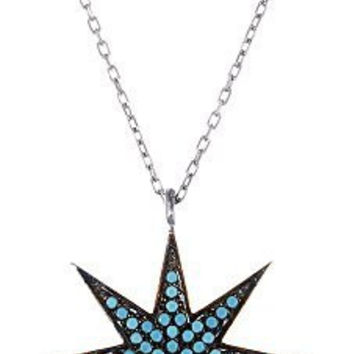 Silver North Star Pendant with Blue Stones Necklace - Available in Vermeil and Silver (sterling-silver)