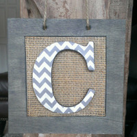 Burlap Chevron Monogram Door Hanger / Hanging Family Sign / Wall Plaque