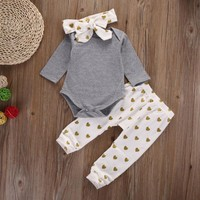 3 Pc Baby Girls Set Includes, Onesuit, Pants and Hair Bow