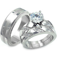 Annabeth's His & Hers Matching Set CZ Stainless Steel Wedding Ring Set