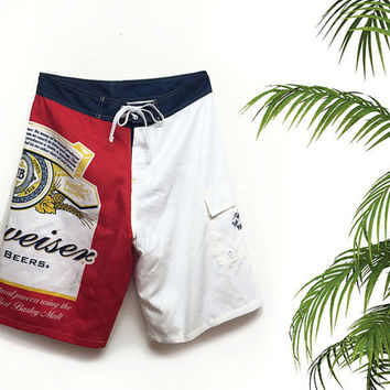 SUMMER SALE Vintage 90's Mens Budweiser Bathing Suit Board Shorts || Size Large Swim Trunks