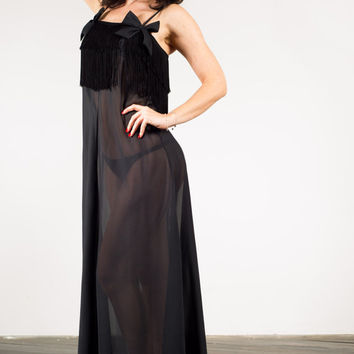 Vintage Christian Dior sheer black designer fringed lingerie maxi nightgown with bows, M
